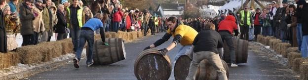 Men taking part in the barrel race